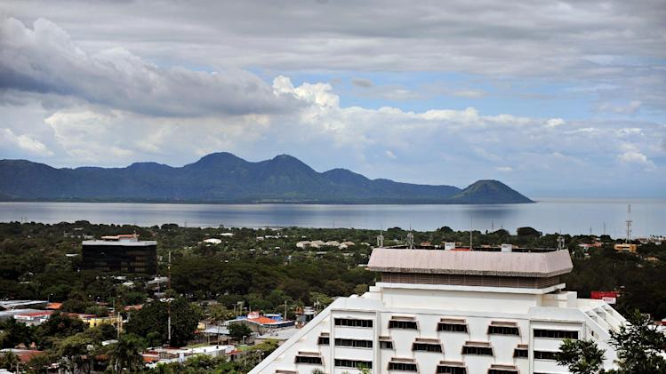 View of the city and the Managua Lake in the background in Managua on October 19, 2009