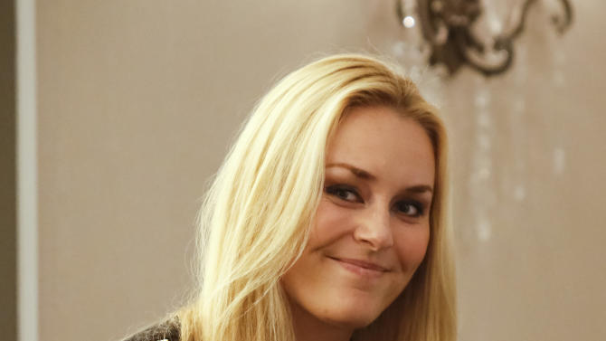 Lindsey Vonn, of the United States, smiles during a press conference for the women's World Cup ski races in Aspen, Colo. on Friday, Nov. 23, 2012.  (AP Photo/Nathan Bilow)