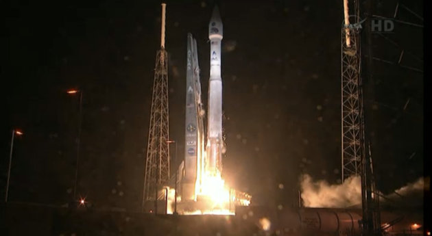 This framegrab image provided by NASA-TV shows the Atlas V first stage and Centaur upper stage as it lifts off the launch pad at Cape Canaveral Air Force Station, Florida early Thursday Aug. 30, 2012.