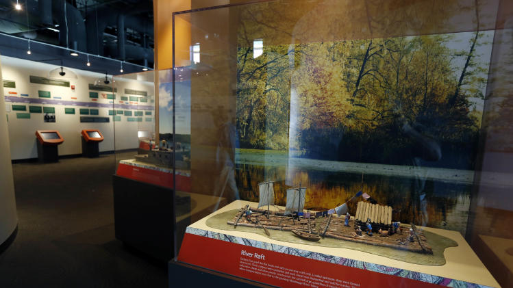 In this Dec. 18, 2012 photograph scale examples of the various types of river vessel used on the Mississippi River, are on display at the Lower Mississippi River Museum in Vicksburg, Miss. The museum provides visitors with a extensive look at life surrounding the Mississippi River through several centuries by way of its interactive and static displays. Visitors also have the opportunity to tour the Motor Vessel Mississippi IV exhibit and see how crews worked and lived on the towboats used by the U.S. Army Corps of Engineers.  (AP Photo/Rogelio V. Solis)