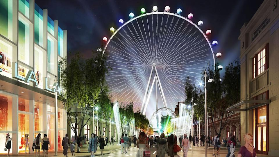 This artist rendering provided by Caesars Entertainment shows an artists rendering of a planned 550-foot-high observation wheel on the Strip in Las Vegas. The wheel is expected to be the largest in the world. The Ferris-style wheel is part of a planned $550 million development on the Strip. (AP Photo/Caesars Entertainment)