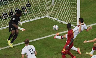 Germany's Miroslav Klose was just able to get his foot on the match's game-tying goal. (AP)