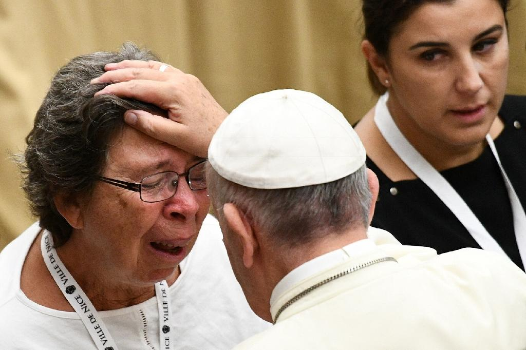 Pope urges 'sincere dialogue' as he meets Nice attack victims