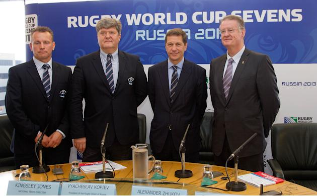 (From left) Kingsley Jones, National Teams Director, Vyacheslav Kopiev, President of the Rugby Union Russia, Alexander Zhukov, Deputy President of Russia and Bernard Lappasset, Chairman of the IRB, po