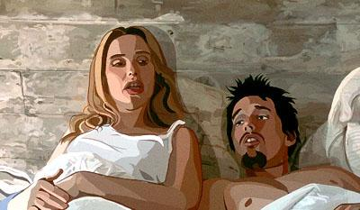 Animated visions of Julie Delpy and Ethan Hawke in Fox Searchlight's Waking Life