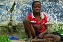 Homeless child begs along a street in the Democratic Republic of Congo (DRC) in capital Kinshasa