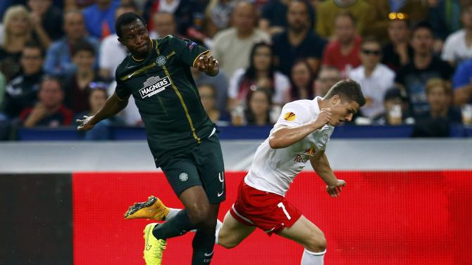 Salzburg's Sabitzer is challenged by Celtic's Ambrose during their Europa League Group D soccer match in Salzburg