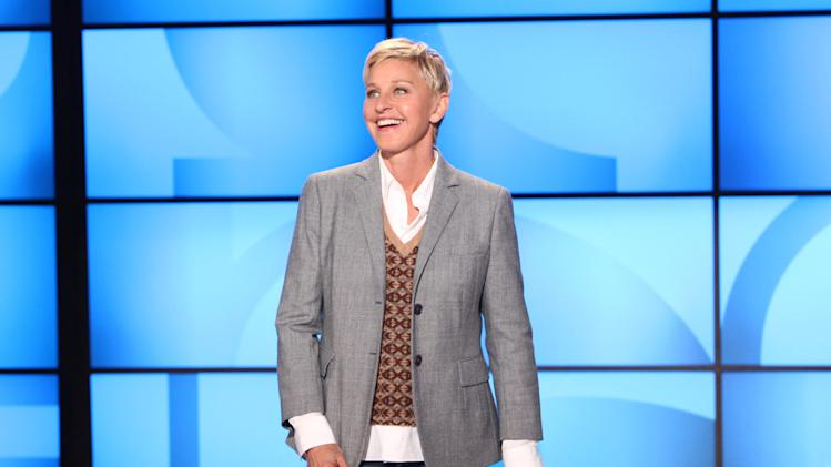 "FILE- This Sept. 26, 2011, file photo, originally provided by Warner Bros., shows Ellen DeGeneres during a taping of ""The Ellen DeGeneres Show"" in Burbank, Calif. The Kennedy Center in Washington is awarding DeGeneres the Mark Twain Prize for American Humor on Oct. 22. The show will be broadcast on PBS stations Oct. 30. (AP Photo/Warner Bros., Michael Rozman, File)"