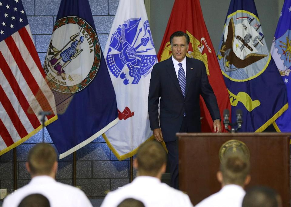 Republican presidential candidate, former Massachusetts Gov. Mitt Romney \arrives to deliver a foreign policy speech at Virginia Military Institute (VMI) in Lexington, Va., Monday, Oct. 8, 2012. (AP Photo/Charles Dharapak)