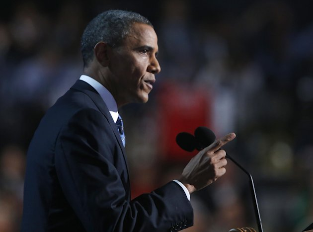 President Barack Obama addresses the Democratic National Convention in Charlotte, N.C., on Thursday, Sept. 6, 2012. (AP Photo/Jae C. Hong)