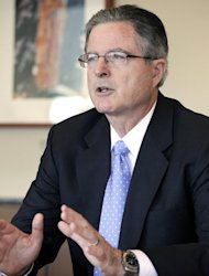 In this Thursday, Nov. 29, 2012 photo, Chevron CEO John Watson talks during an interview, in New York. Watson, 55, a California native and Chevron lifer, joined the company in 1980 as a financial analyst. Before becoming CEO in 2010 he was vice chairman in charge of strategic planning, business development and mergers and acquisitions. He also ran the company's international exploration and production business, led the company's integration with Texaco and was CFO. (AP Photo/Mark Lennihan)