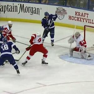 Mrazek kicks out his pad to deny Stamkos