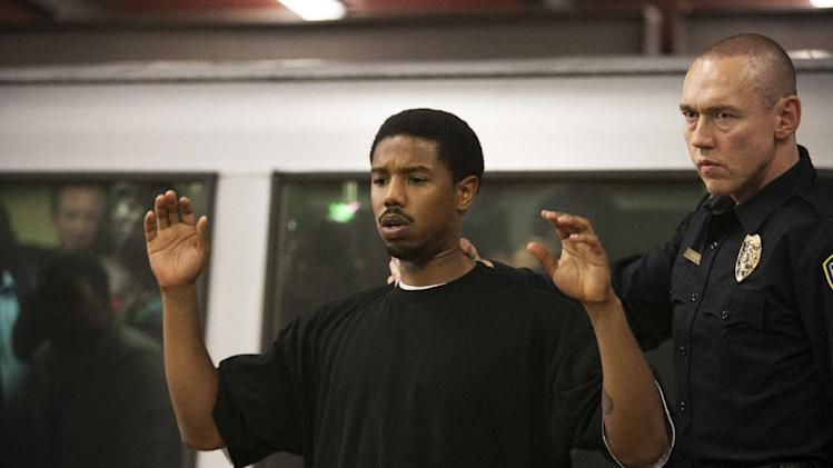 "This publicity photo released by The Weinstein Company shows Michael B. Jordan, left, and Kevin Durand, right, in a scene from the film, ""Fruitvale Station."" (AP Photo/The Weinstein Company, Ron Koeberer)"