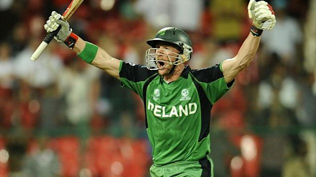 Ireland's John Mooney shouts as he celebrates Ireland's victory over England in their ICC Cricket World Cup group B match in Bangalore March 2, 2011. (Reuters)