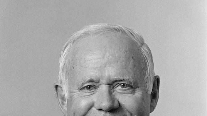 Former Johnson & Johnson CEO James E. Burke is seen in an August 2000 photo provided by Johnson & Johnson.  Burke, who helped the company expand dramatically around the world and steered it through the Tylenol poisonings in the 1980s, died on Friday, Sept. 28. He was 87. (AP Photo/PR Newsfoto, Camera1 NYC)