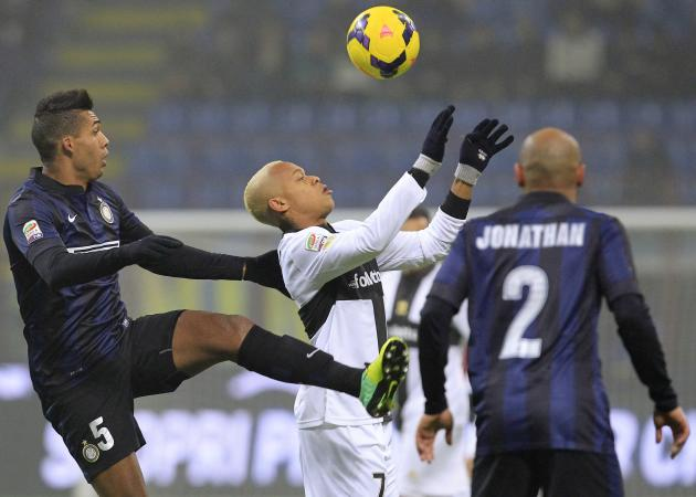 Inter Milan's Jesus challenges Parma's Biabiany during their Italian Serie A soccer match in Milan