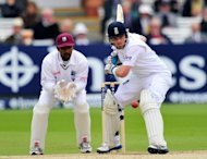 England cricketer Ian Bell goes for a shot during the fifth day of the first Test against the West Indies at Lords cricket ground in London, on May 21. England will take an unbeatable lead in their three-match series against the West Indies if they win the second Test at Trent Bridge starting on Friday