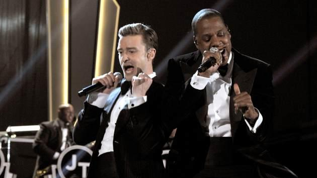Justin Timberlake and Jay-Z on stage during the 55th Annual Grammy Awards at Staples Center in Los Angeles on February 10, 2013  -- Getty Premium