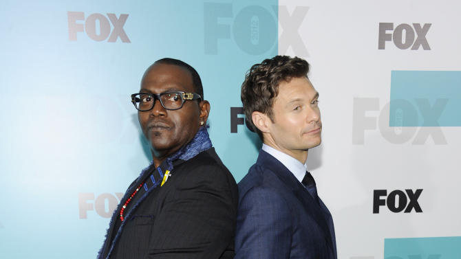 "Randy Jackson, left, and Ryan Seacrest from ""American Idol"" attend the FOX network upfront presentation party at Wollman Rink, Monday, May 14, 2012 in New York. (AP Photo/Evan Agostini)"