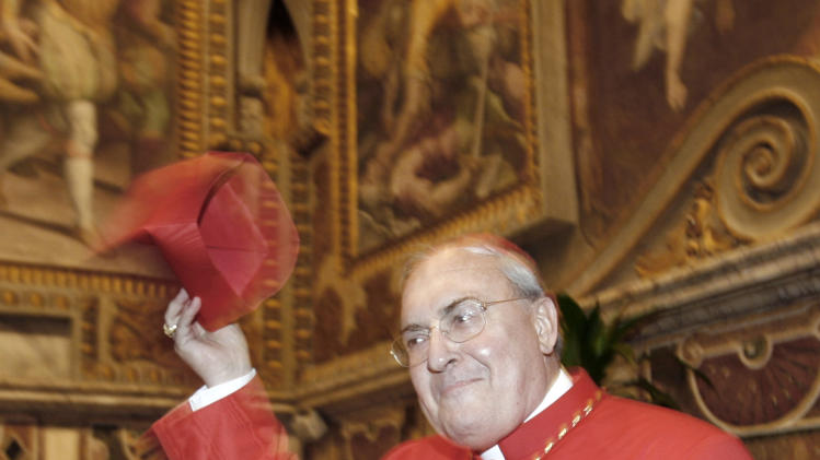 FILE - This Nov. 24, 2007 file photo shows Cardinal Leonardo Sandri, from Argentina, after being elevated to cardinal as he greets relatives and friends, not pictured, at the Vatican.  (AP Photo/Alessandra Tarantino, files)