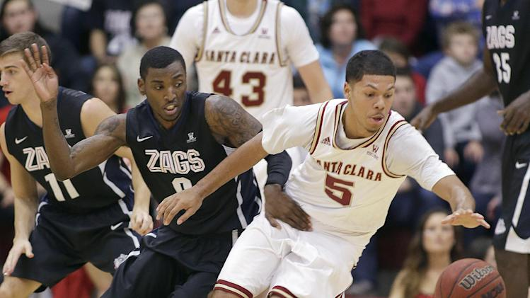 Dower's 3 lifts Gonzaga past Santa Clara 54-52