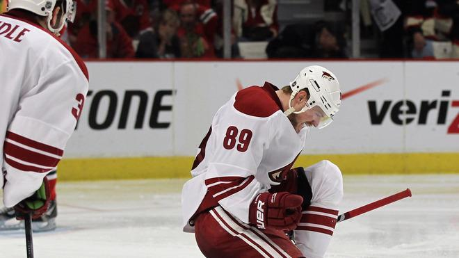 Mikkel Boedker #89 Of The Phoenix Coyotes Celebrates His Game-winning Goal In Overtime Against The Chicago Blackhawks Getty Images