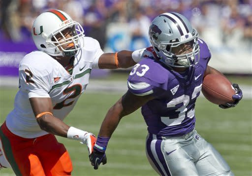 Klein leads No. 21 K-State to 52-13 rout of Miami
