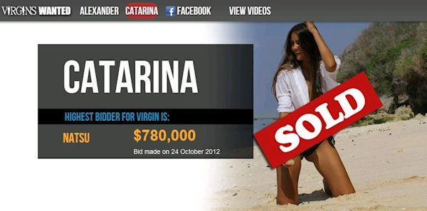 Catarina Migliorini&amp;#39;s virginity has been sold to a Japanese man for $780,000. (virginswanted.com)