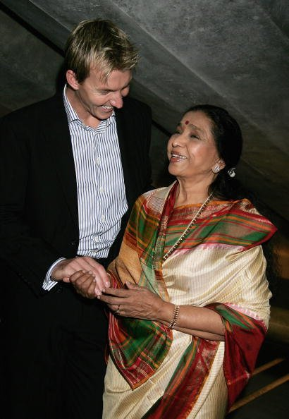 Asha Bhosle &amp; Brett Lee Photo Call