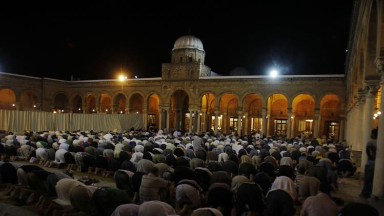 Muslims conduct taraweeh prayers as they gather specially for Lailat al-Qadr, at Al Zitouna mosque in Tunis