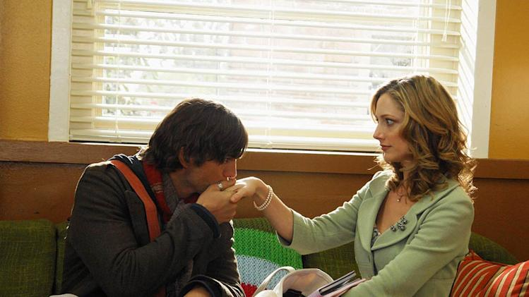 Guest star Ashton Kutcher as substitute Spanish teacher Beaux and Judy Greer as Becky Freeley on ABC Television Network's Miss Guided