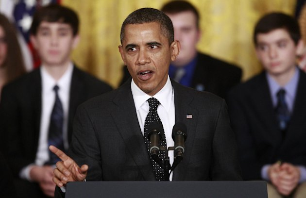 President Barack Obama speaks about the White House Science Fair, Tuesday, Feb. 7, 2012, in the East Room of the White House in Washington. (AP Photo/Charles Dharapak)