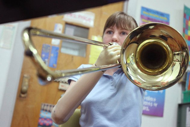 Sara McKinney plays the trombone. (Cindy Hepner/South Jersey Times)