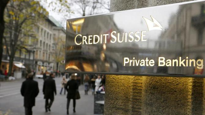 The logo of Swiss bank Credit Suisse is seen in front of a branch office in Zurich