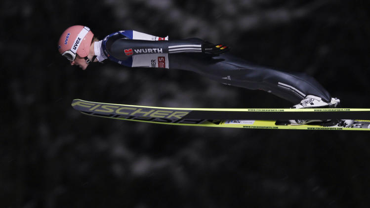 Severin Freund of Germany flies through the air during the men's H138 FIS World Cup ski jumping in Lillehammer
