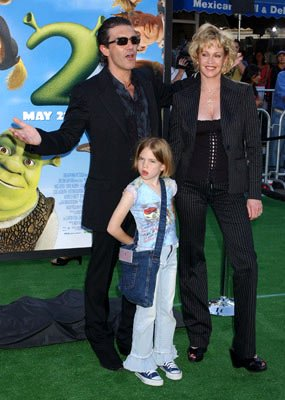 Antonio Banderas , Melanie Griffith and daughter at the L.A. premiere of Dreamworks' Shrek 2