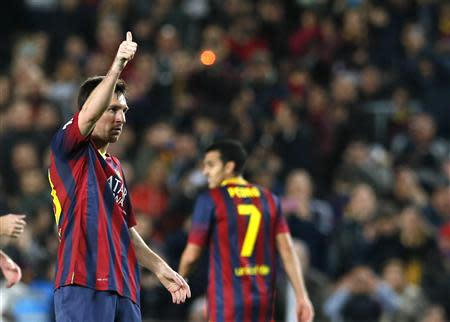 Barcelona's Messi celebrates a goal against Rayo Vallecano during their Spanish first division soccer match in Barcelona
