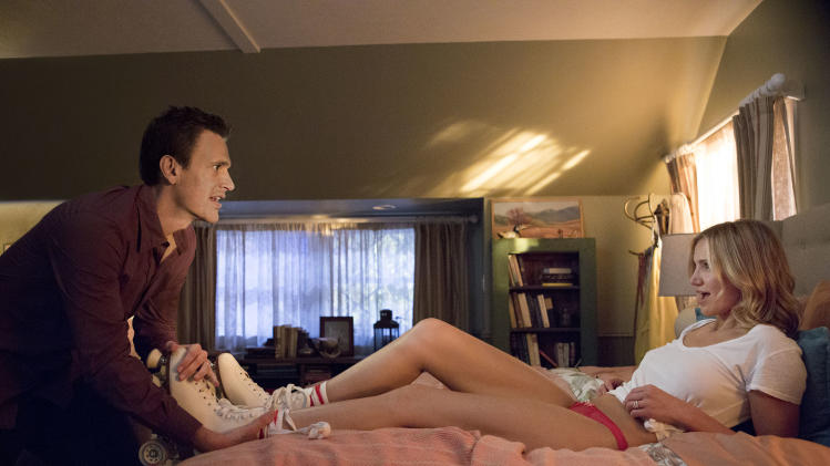 """This image released by Sony Pictures shows Cameron Diaz, right, and Jason Segel in a scene from """"Sex Tape."""" (AP Photo/Sony Pictures, Claire Folger)"""