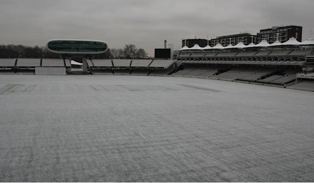 @HomeOfCricket — Lord's Ground — A smattering of snow, and plenty of grey sky, at Lord's this morning: pic.twitter.com/7RcuMh4m