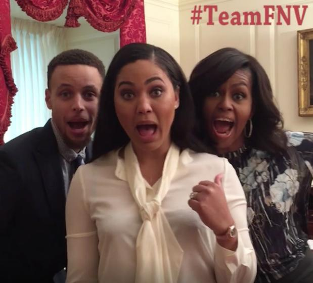 First Lady Michelle Obama Teams Up With Ayesha & Stephen Curry For An Epic Dubsmash