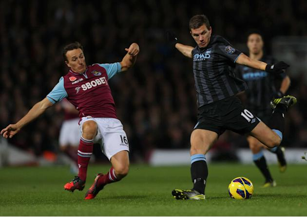 Kevin Nolan, left, controversially had a goal ruled out