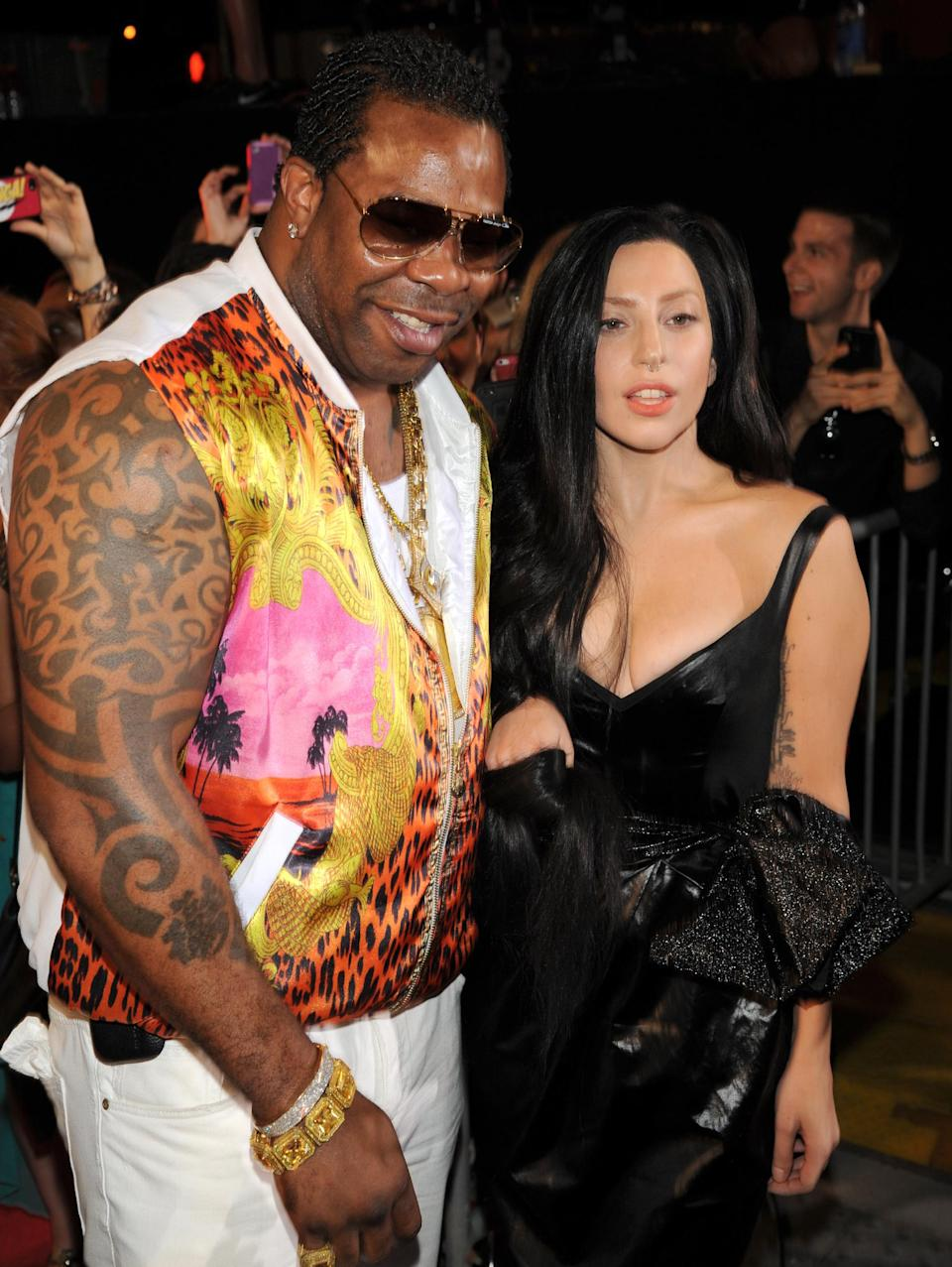 Busta Rhymes, from left, and Lady Gaga arrive at the MTV Video Music Awards on Sunday, Aug. 25, 2013, at the Barclays Center in the Brooklyn borough of New York. (Photo by Scott Gries/Invision/AP)
