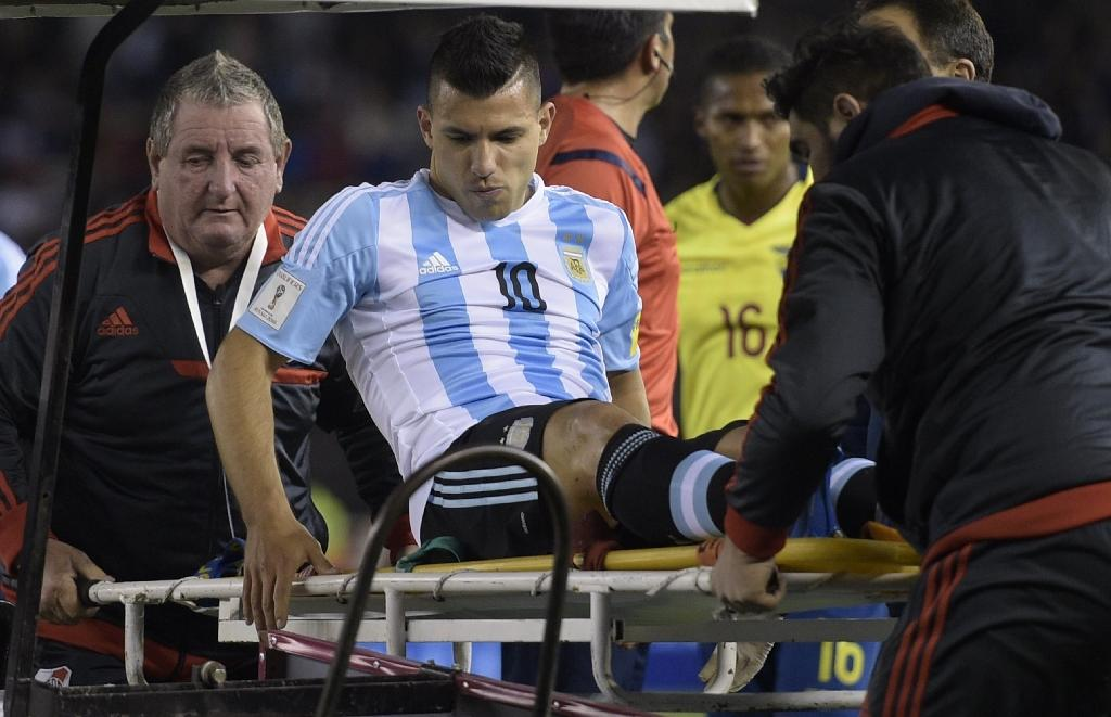 Man City's Aguero injured on Argentina duty