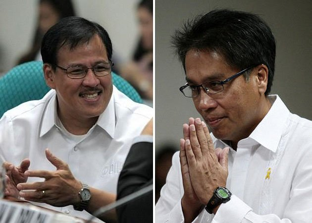 Big 'tsinelas' to fill: The late Interior Secretary Jesse Robredo and newly-named DILG Sec. Mar Roxas (File photos by NPPA Images)