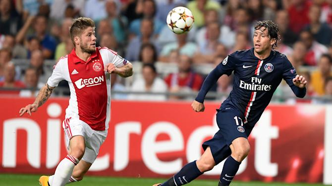 Paris Saint-Germain's Maxwell (R) vies with Ajax Amsterdam's Lasse Schoene during a UEFA Champions League football match in Amsterdam, on September 17, 2014