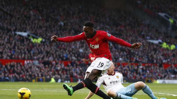 Manchester United's Welbeck scores a goal against West Ham during their English Premier League soccer match in Manchester