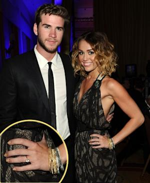 Liam Hemsworth, Miley Cyrus and her ring (inset) -- Getty Images