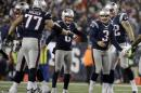 New England Patriots kicker Stephen Gostkowski (3) celebrates after kicking a field goal during the second half of the AFC championship NFL football game against the Pittsburgh Steelers, Sunday, Jan. 22, 2017, in Foxborough, Mass. (AP Photo/Elise Amendola)