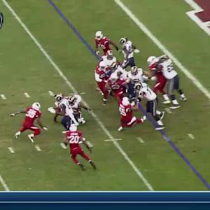 Arizona Cardinals defensive end Darnell Dockett steps on offensive lineman's hand