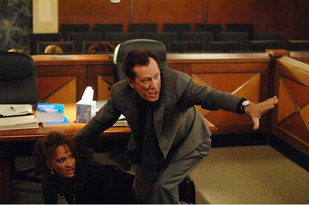 Sebastian,(James Woods) Raina,(Sophina Brown) the cold-blooded killer they're prosecuting and an entire courtroom of people are taken hostage by a gun-wielding defendant (Evan Handler) from another ca